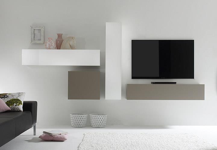 wohnwand cube kombi 4 anbauwand wei lack und beige matt ebay. Black Bedroom Furniture Sets. Home Design Ideas