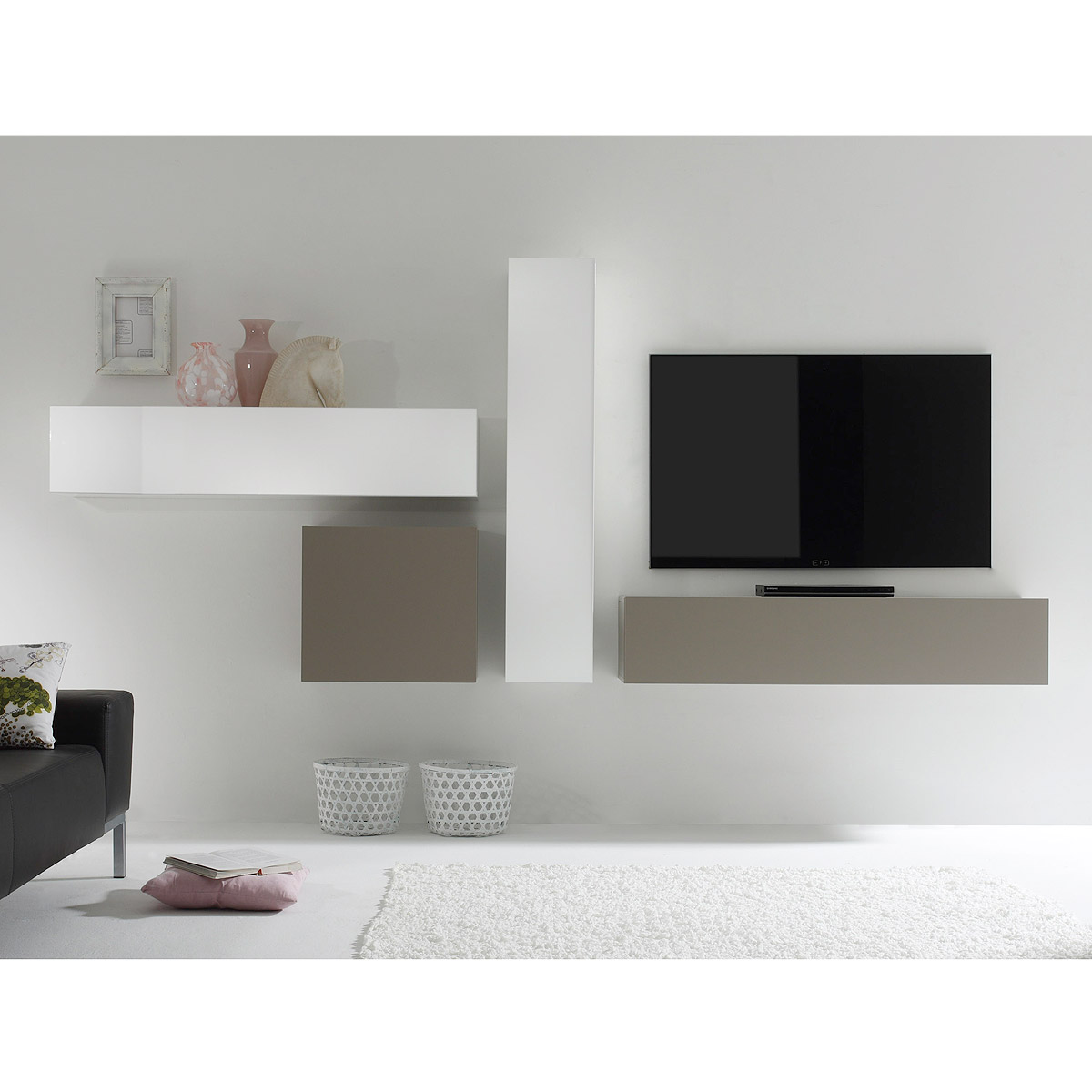 wohnwand cube kombi 4 anbauwand wei lack und beige matt eur 377 95 picclick de. Black Bedroom Furniture Sets. Home Design Ideas