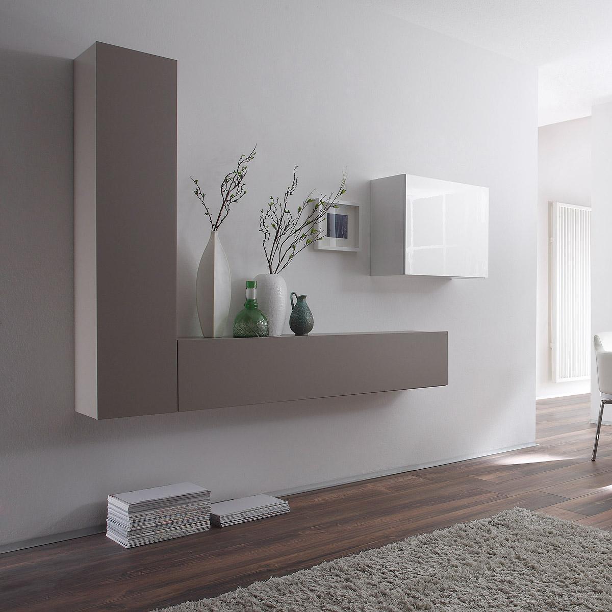 wohnwand cube kombi 6 anbauwand beige matt und wei lack. Black Bedroom Furniture Sets. Home Design Ideas