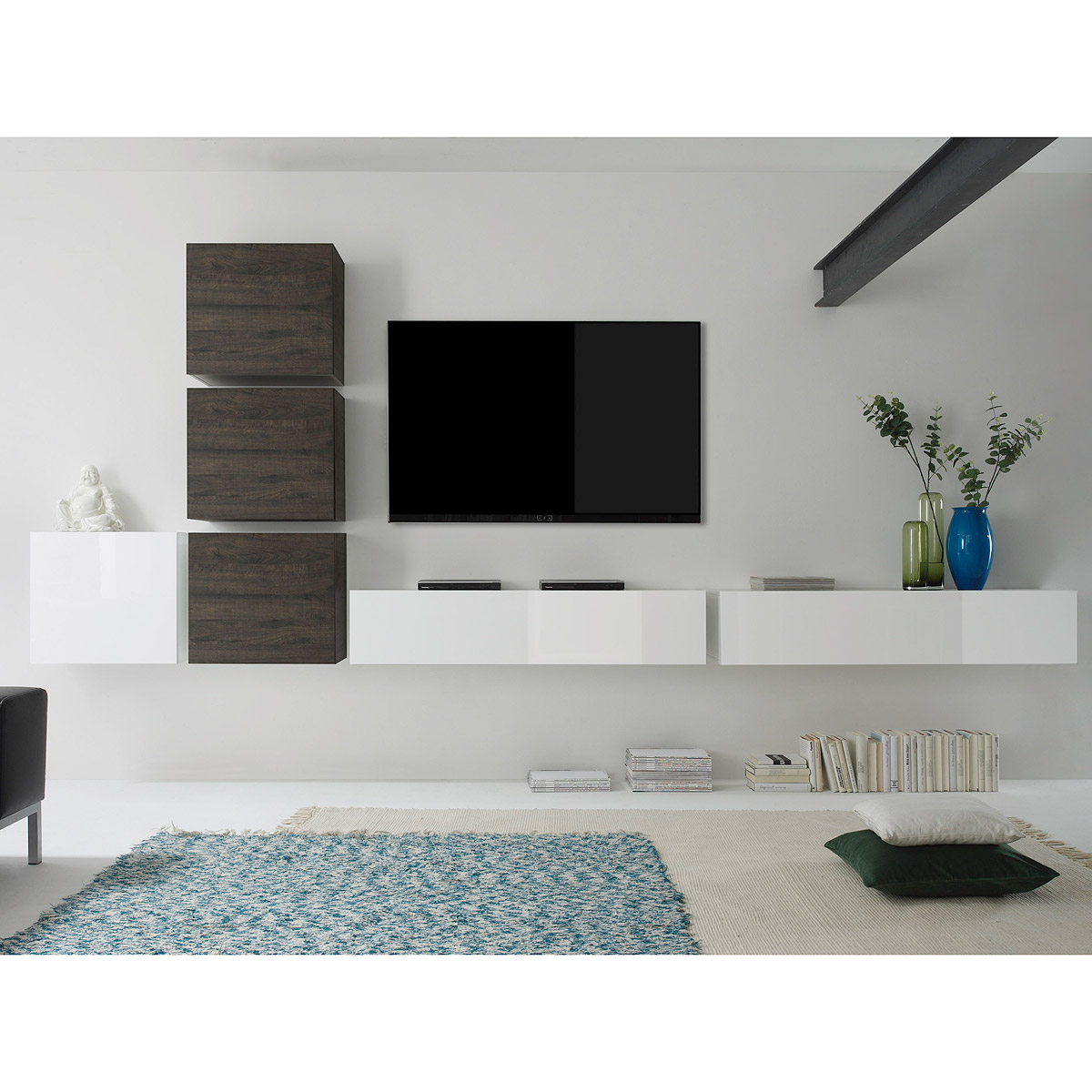 wohnwand cube kombi 7 anbauwand eiche wenge und wei lack. Black Bedroom Furniture Sets. Home Design Ideas