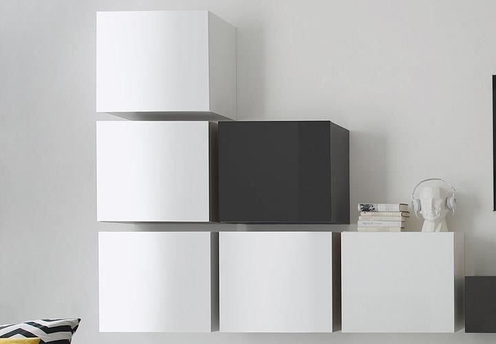 wohnwand cube kombi 9 anbauwand anthrazit und wei lack ebay. Black Bedroom Furniture Sets. Home Design Ideas