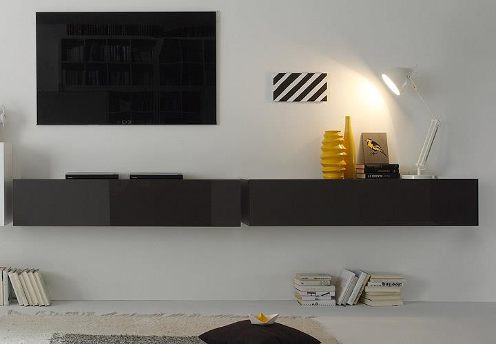 wohnwand cube kombi 9 anbauwand anthrazit und wei lack ebay. Black Bedroom Furniture Sets. Home Design Ideas