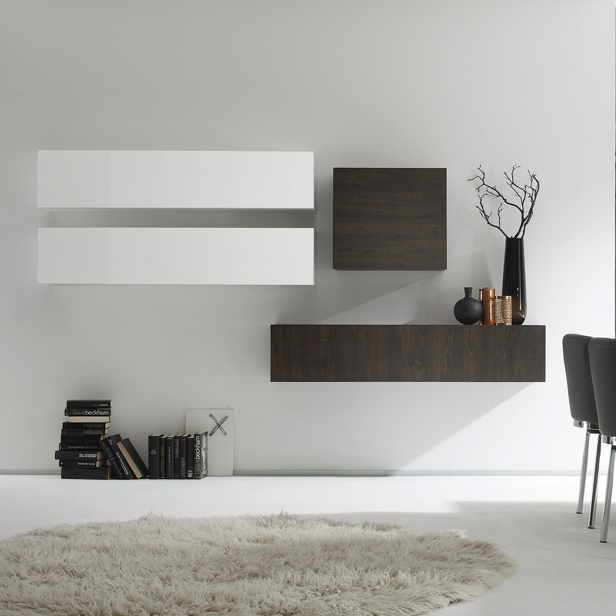 wohnwand cube kombi 10 anbauwand wei lack und eiche wenge ebay. Black Bedroom Furniture Sets. Home Design Ideas