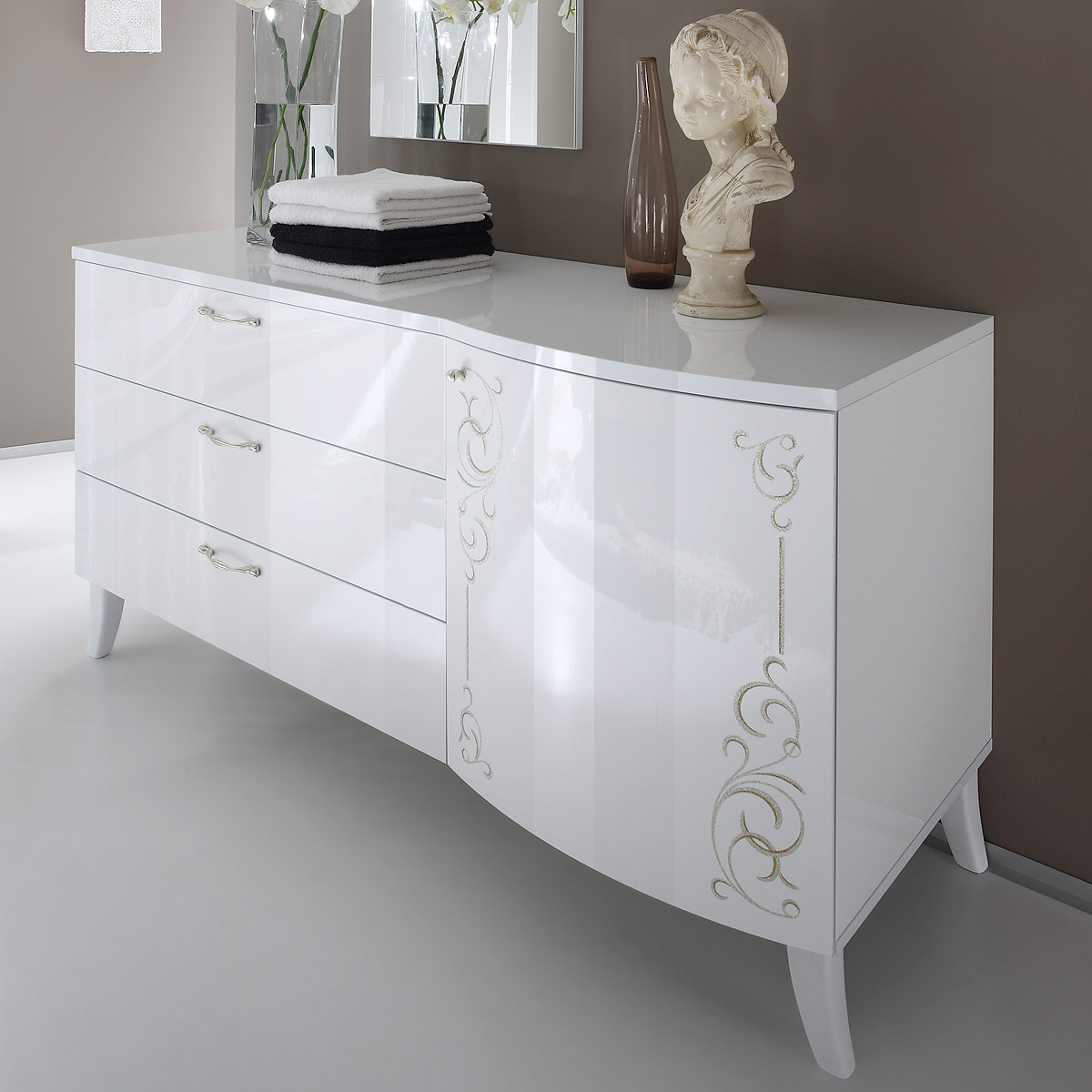 kommode sibilla sideboard wei hochglanz mit siebdruck ebay. Black Bedroom Furniture Sets. Home Design Ideas