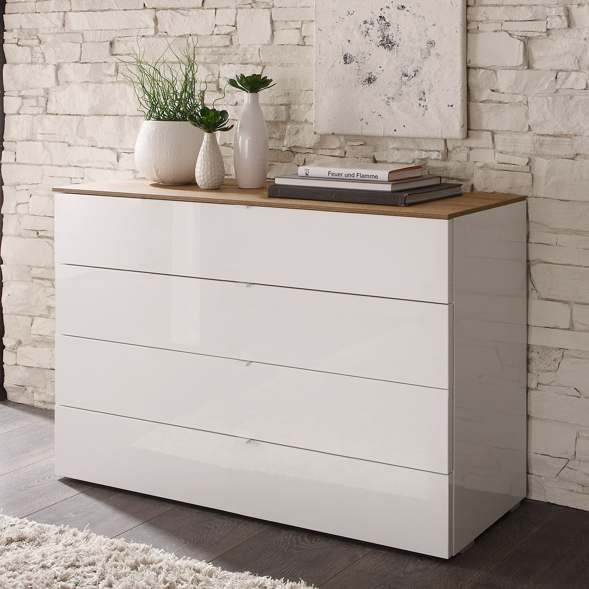 kommode tambura sideboard wei lack und eiche natur mit schubk sten ebay. Black Bedroom Furniture Sets. Home Design Ideas