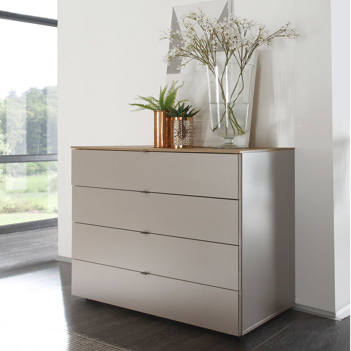 kommode tambura sideboard beige matt und eiche natur mit. Black Bedroom Furniture Sets. Home Design Ideas