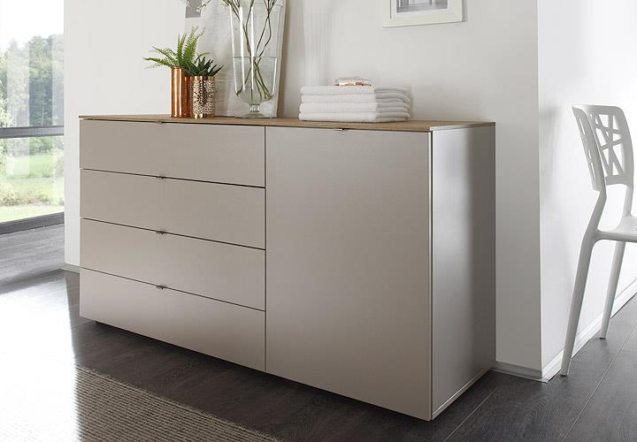 kommode tambura sideboard beige matt und eiche natur b 108 cm ebay. Black Bedroom Furniture Sets. Home Design Ideas