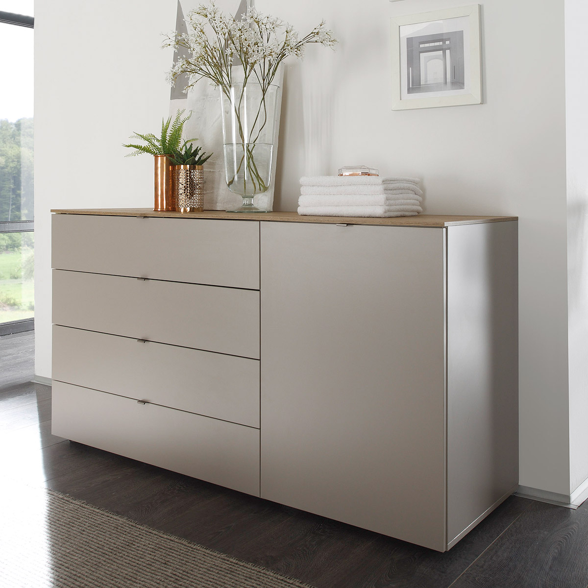Kommode-Tambura-Sideboard-beige-matt-und-Eiche-Natur-B-108-cm