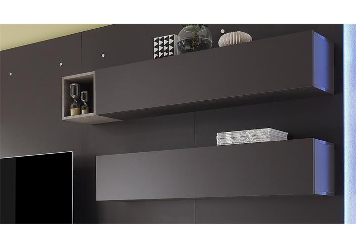 wohnwand cube 2 kombi 2 anbauwand wohnkombi in dunkel grau matt und eiche ebay. Black Bedroom Furniture Sets. Home Design Ideas