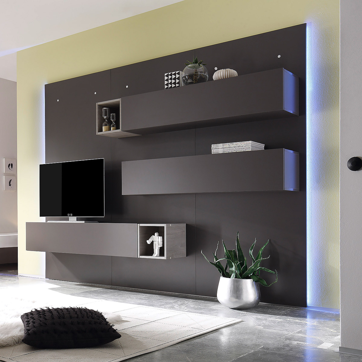 wohnwand cube 2 kombi 2 anbauwand wohnkombi in dunkel grau. Black Bedroom Furniture Sets. Home Design Ideas