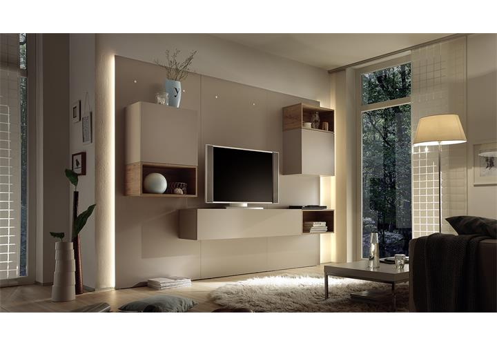 wohnwand cube 2 kombi 3 anbauwand wohnkombi in beige matt und eiche natur ebay. Black Bedroom Furniture Sets. Home Design Ideas