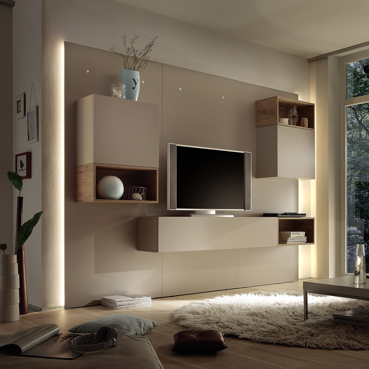 wohnwand cube 2 kombi 3 anbauwand wohnkombi in beige matt. Black Bedroom Furniture Sets. Home Design Ideas