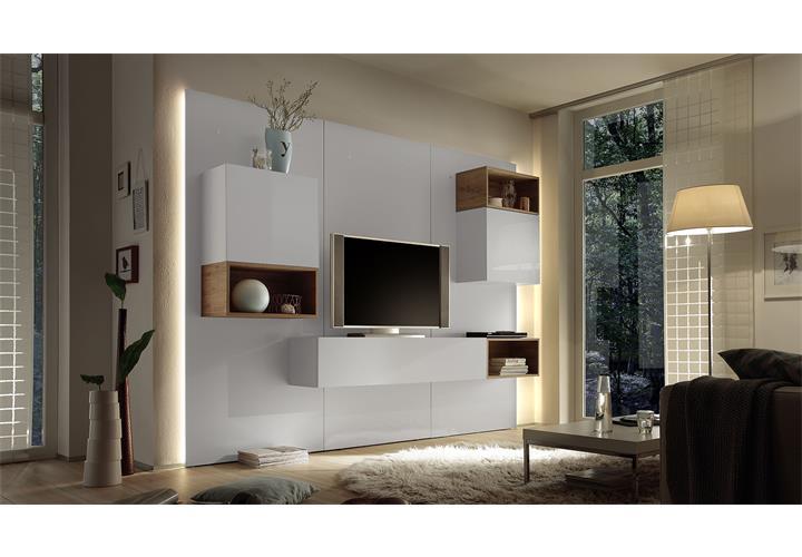 wohnwand cube 2 kombi 3 anbauwand wohnkombi wei hochglanz. Black Bedroom Furniture Sets. Home Design Ideas