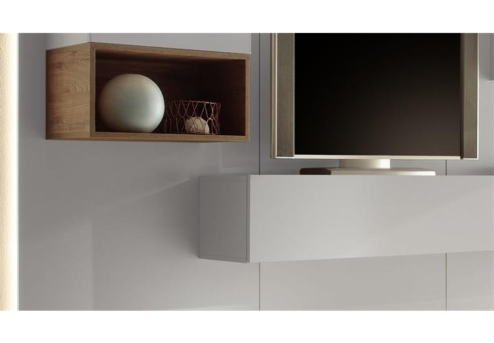 wohnwand cube 2 kombi 3 anbauwand wohnkombi wei hochglanz lack und eiche natur ebay. Black Bedroom Furniture Sets. Home Design Ideas