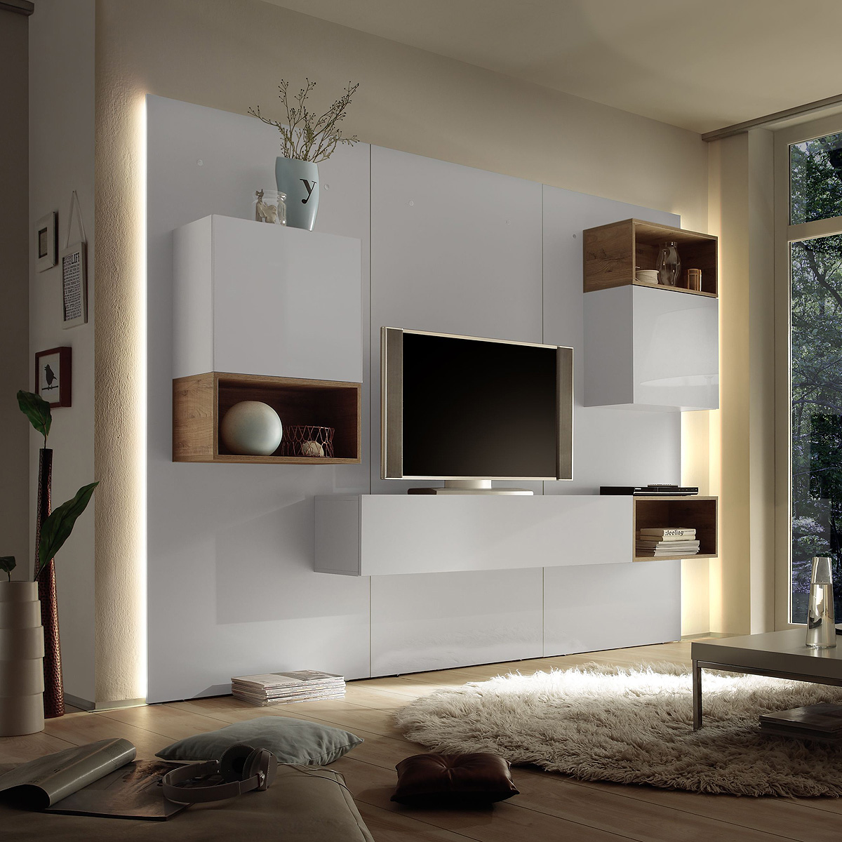 wohnwand cube 2 kombi 3 anbauwand wohnkombi wei hochglanz. Black Bedroom Furniture Sets. Home Design Ideas
