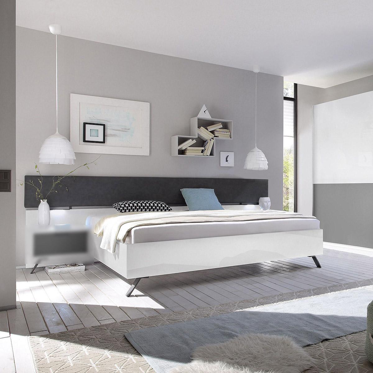 bett matchs schlafzimmerbett doppelbett wei hochglanz anthrazit matt lack 180 ebay. Black Bedroom Furniture Sets. Home Design Ideas