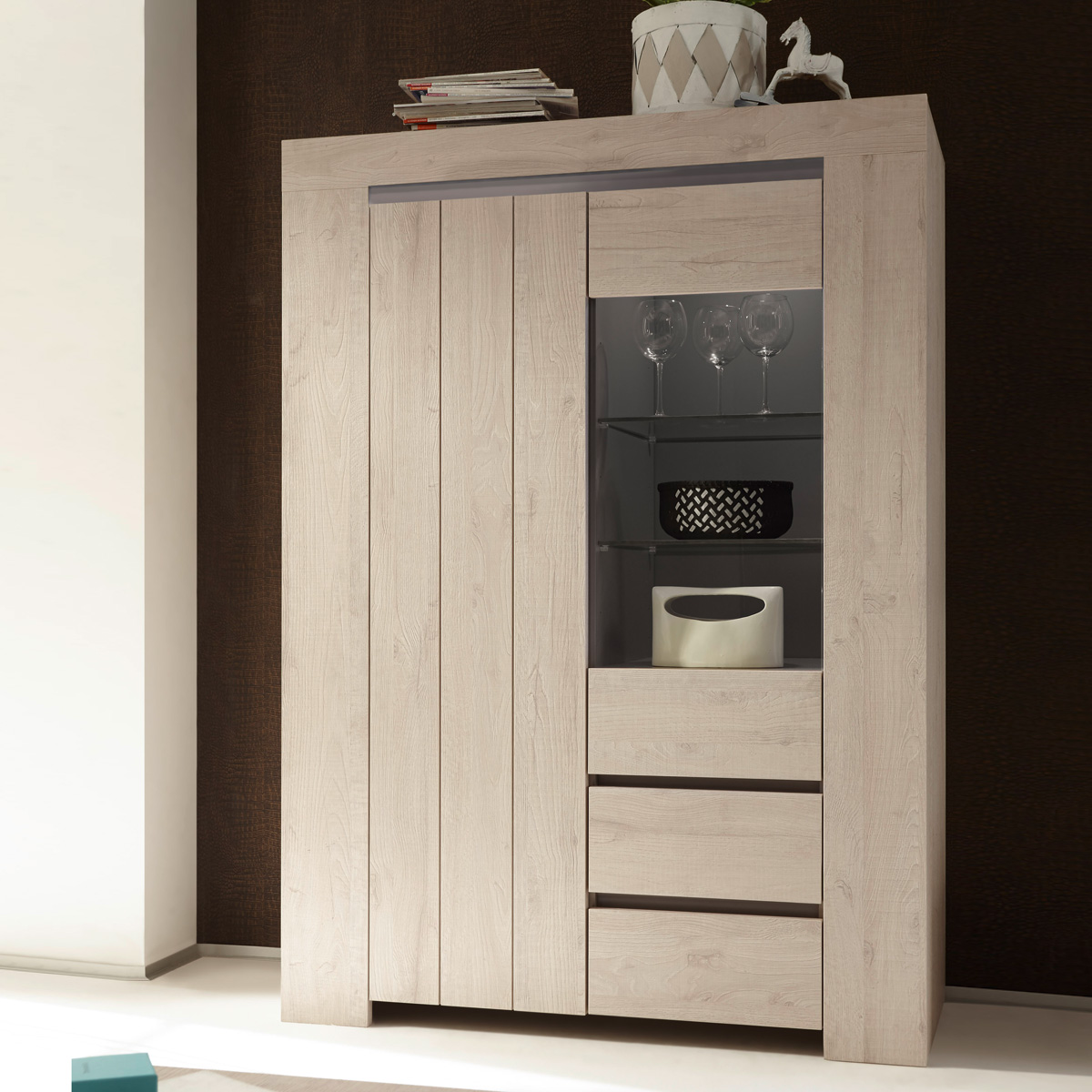vitrine palmira highboard schrank buffet in eiche hell und beige matt eur 629 95 picclick de. Black Bedroom Furniture Sets. Home Design Ideas
