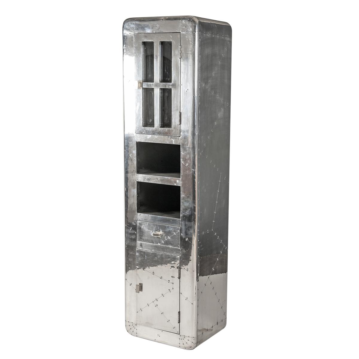 hochschrank airman badezimmer schrank mit aluminium beschlagen im flugzeugdesign ebay. Black Bedroom Furniture Sets. Home Design Ideas