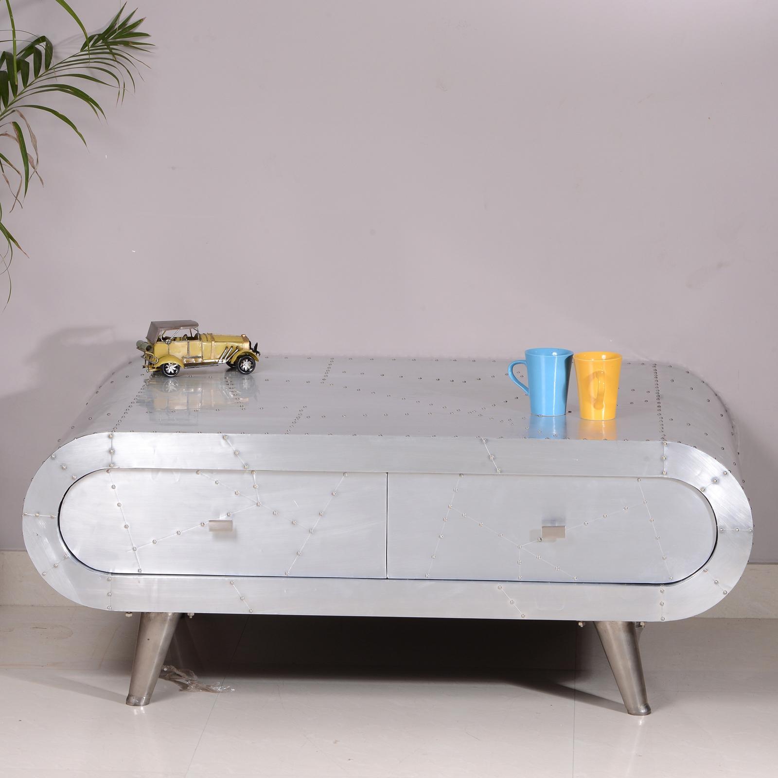 couchtisch gro downtown aus mangoholz und mdf alu beschlagen mit metallbeinen ebay. Black Bedroom Furniture Sets. Home Design Ideas