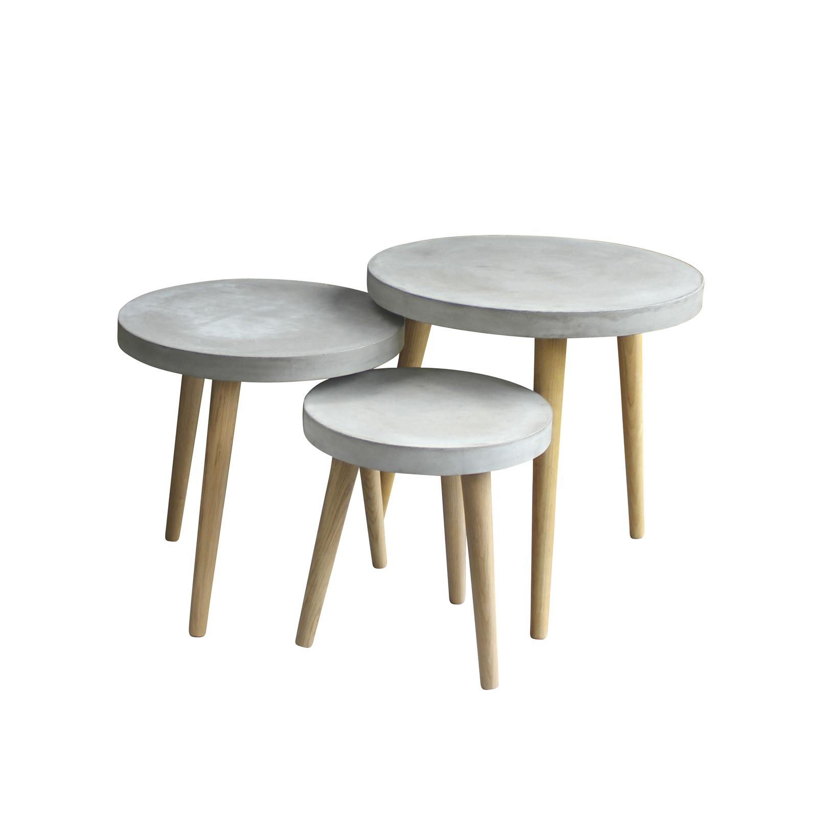 3 satz tisch gro cement beistelltisch aus leichtbeton und beine eiche massiv ebay. Black Bedroom Furniture Sets. Home Design Ideas