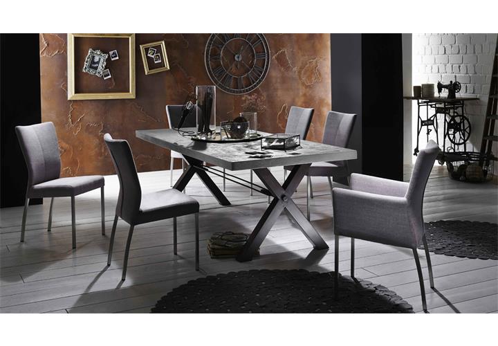 esstisch tops tables roheisengestell 2 lackiert mangoholz und mdf zement 180cm. Black Bedroom Furniture Sets. Home Design Ideas