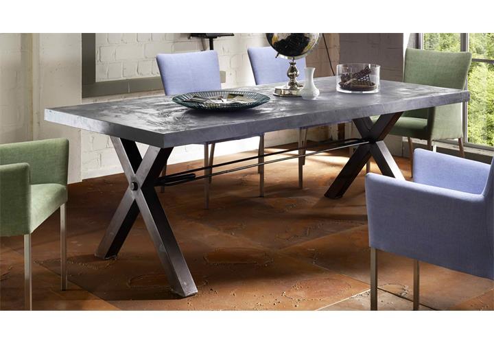 esstisch tops tables roheisengestell 2 lackiert mangoholz und mdf zement 180cm ebay. Black Bedroom Furniture Sets. Home Design Ideas