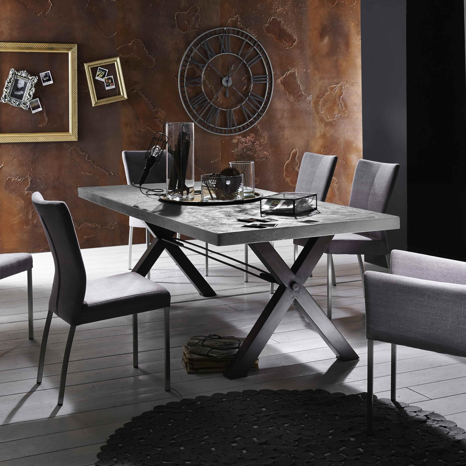 Esstisch Tops & Tables Roheisengestell 2 lackiert  ~ Esstisch Zement