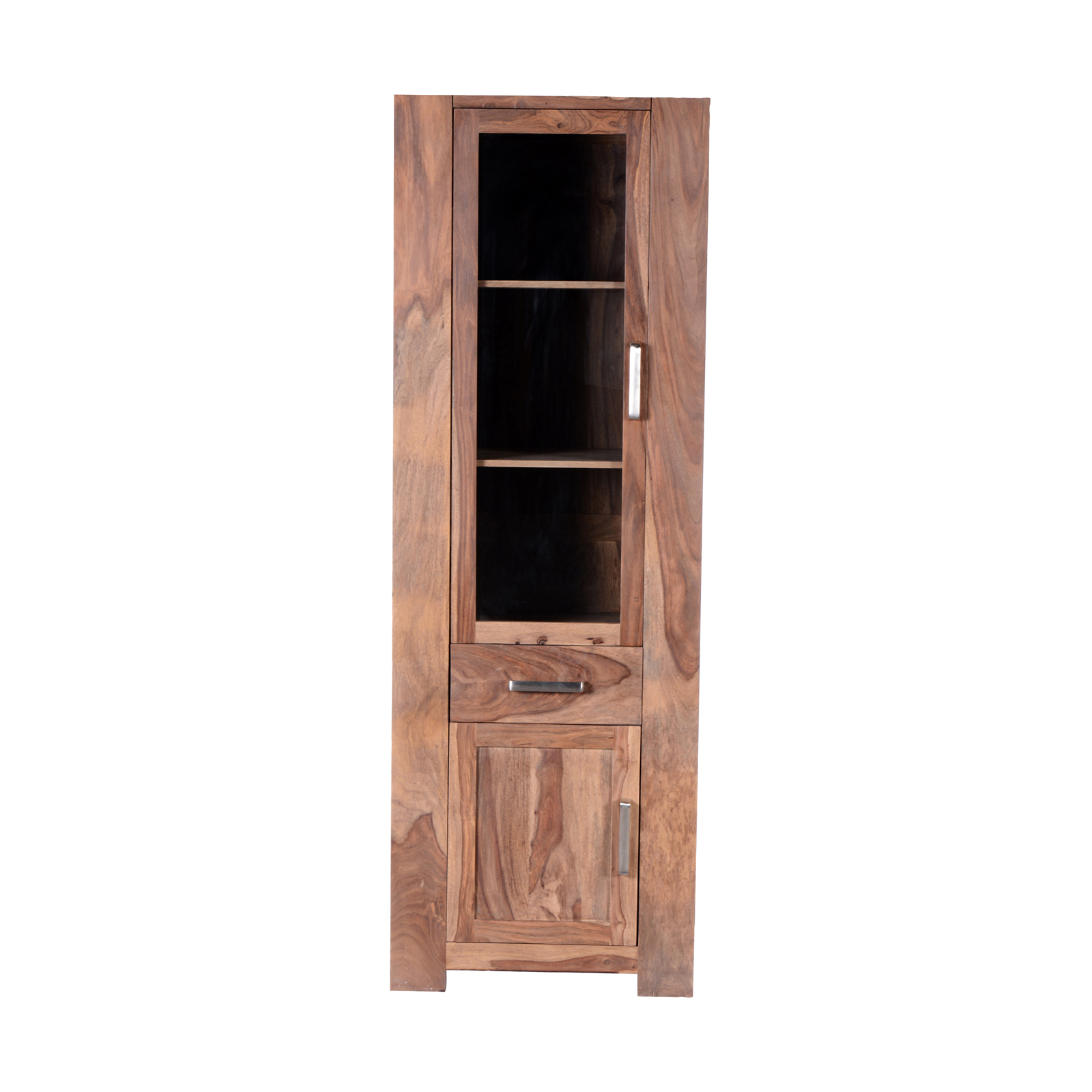 vitrine thor mit linksanschlag wohnzimmer aus massivem sheesham holz ebay. Black Bedroom Furniture Sets. Home Design Ideas