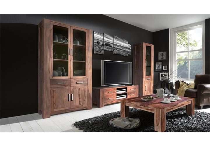 Wohnzimmer set thor wohnwand und couchtisch aus massivem sheesham holz ebay - Wohnwand sheesham ...