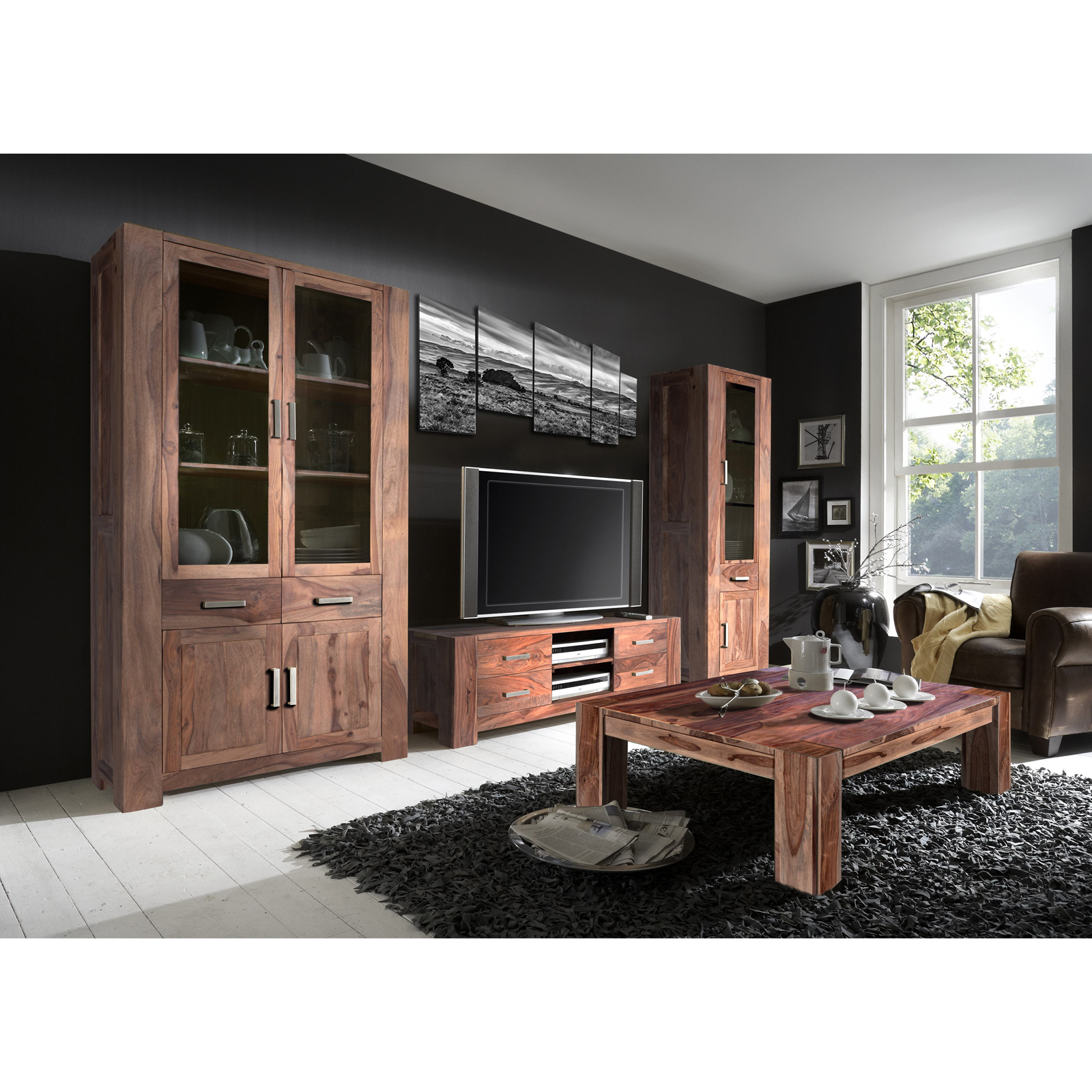 wohnzimmer set thor wohnwand und couchtisch aus massivem sheesham holz ebay. Black Bedroom Furniture Sets. Home Design Ideas