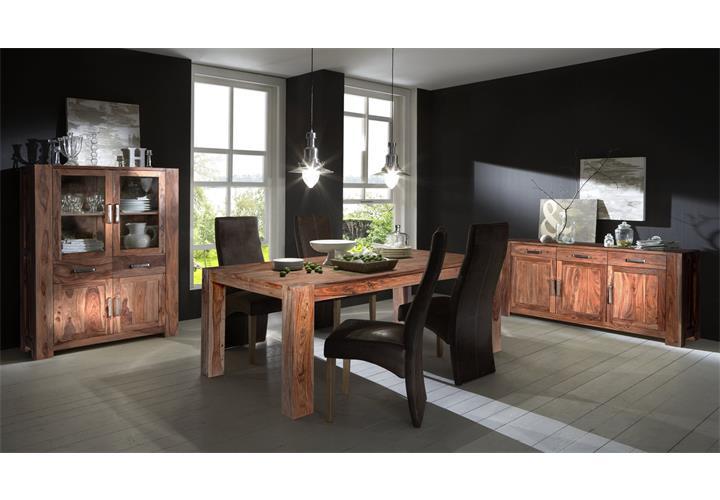 esszimmer set thor mit highboard sideboard und esstisch aus sheesham holz massiv ebay. Black Bedroom Furniture Sets. Home Design Ideas
