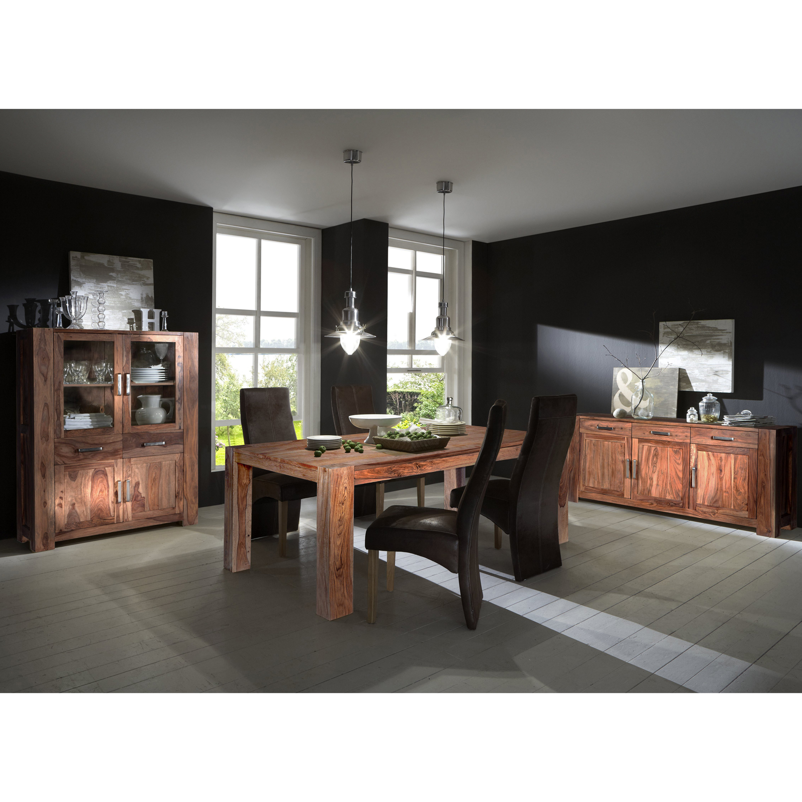 Esszimmer set thor mit highboard sideboard und esstisch for Esszimmer set massiv