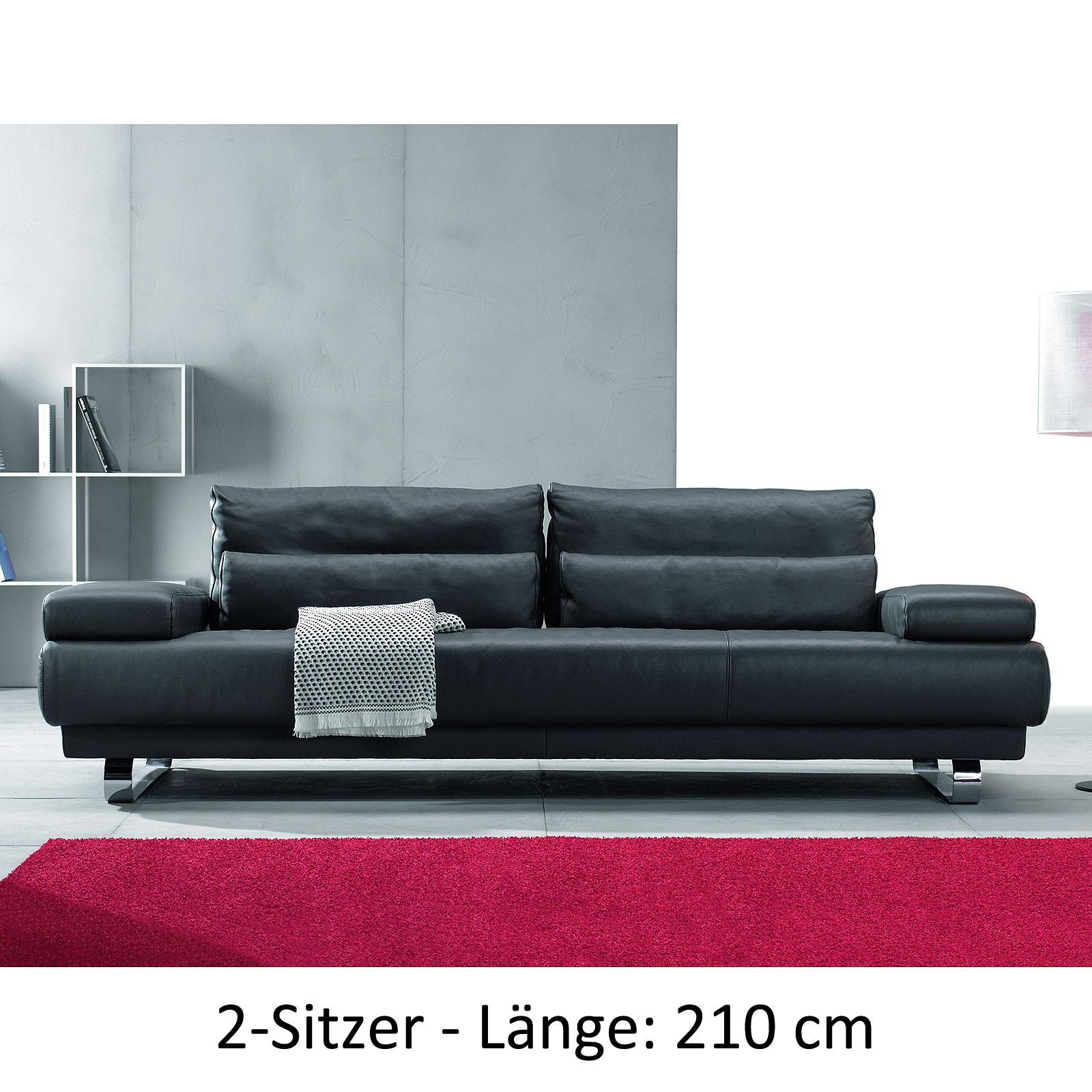 sofa harry leder schwarz sitztiefenverstellung 2 gr en auswahl ewald schillig ebay. Black Bedroom Furniture Sets. Home Design Ideas