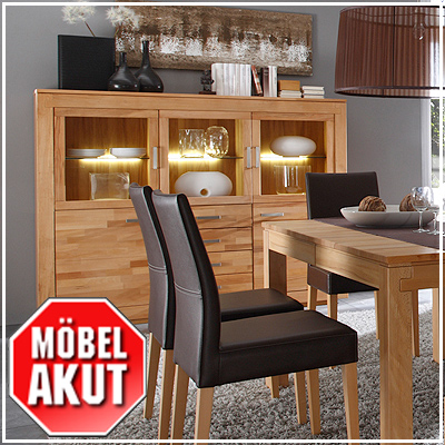 highboard frame in kernbuche massiv mit beleuchtung ebay. Black Bedroom Furniture Sets. Home Design Ideas