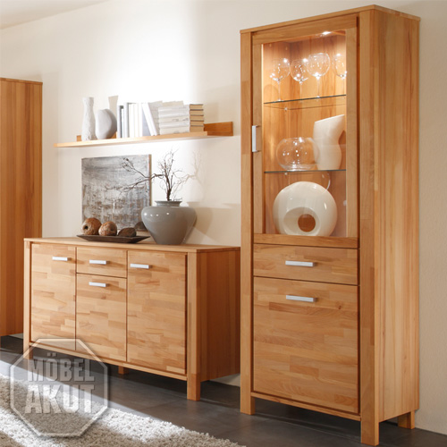 vitrine malibu schrank in kernbuche massiv neu ebay. Black Bedroom Furniture Sets. Home Design Ideas