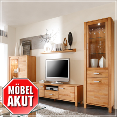 wohnwand malibu anbauwand in kernbuche massiv neu. Black Bedroom Furniture Sets. Home Design Ideas