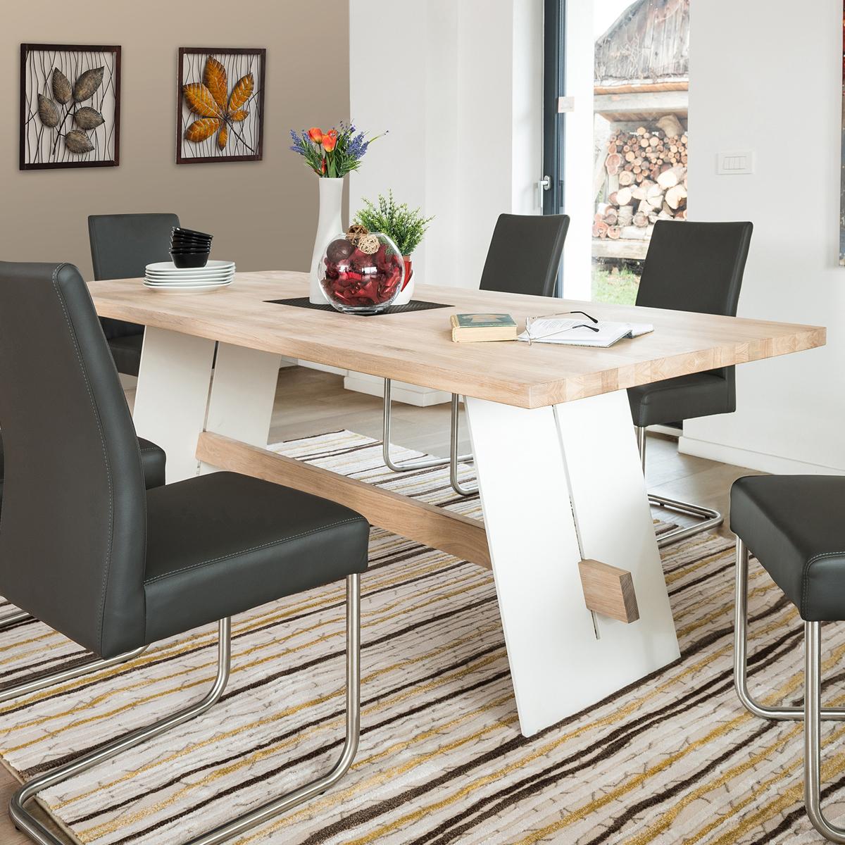 esstisch aladin tisch 200x95 cm eiche bianco massiv und wei lackiert esszimmer ebay. Black Bedroom Furniture Sets. Home Design Ideas