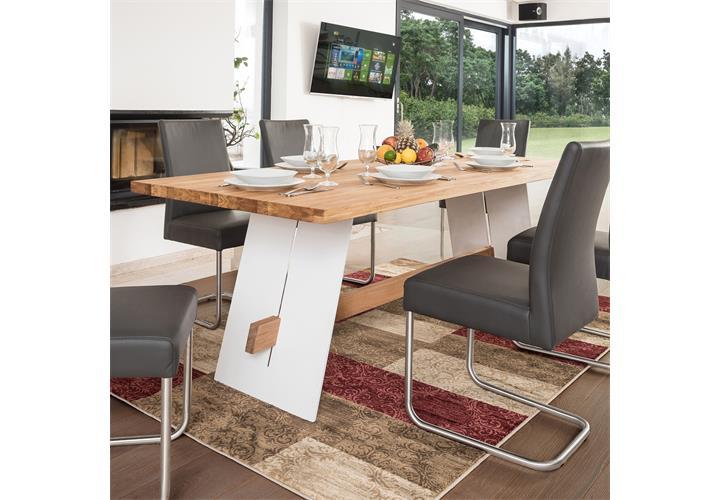 esstisch aladin tisch eiche massiv und metall lackiert esszimmertisch ebay. Black Bedroom Furniture Sets. Home Design Ideas