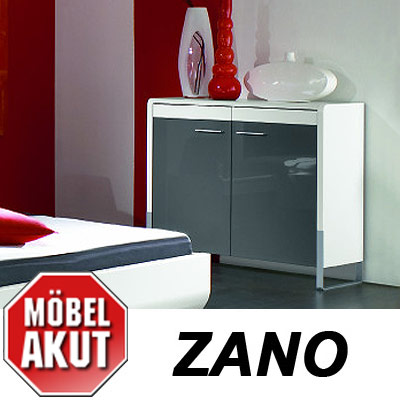 kommode zano sideboard in wei hochglanz grau. Black Bedroom Furniture Sets. Home Design Ideas