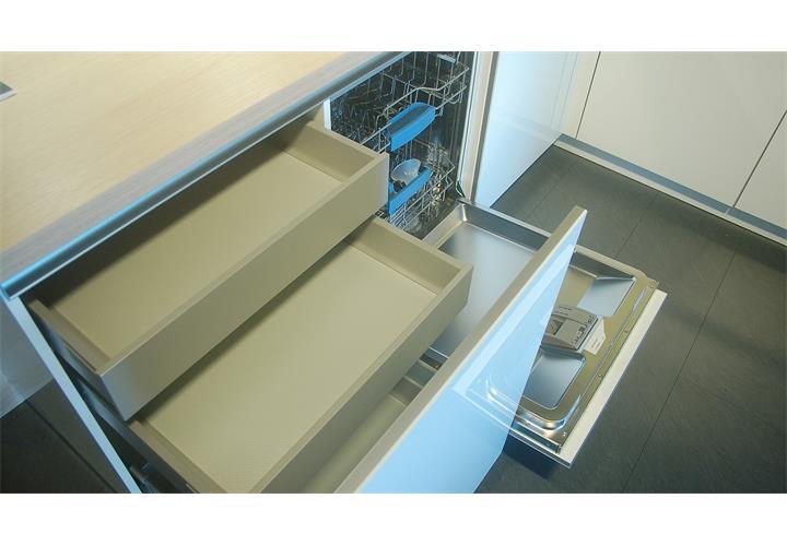 Einbauküche Schüller Ausstellungsküche Küche weiß Hochglanz Eiche ...