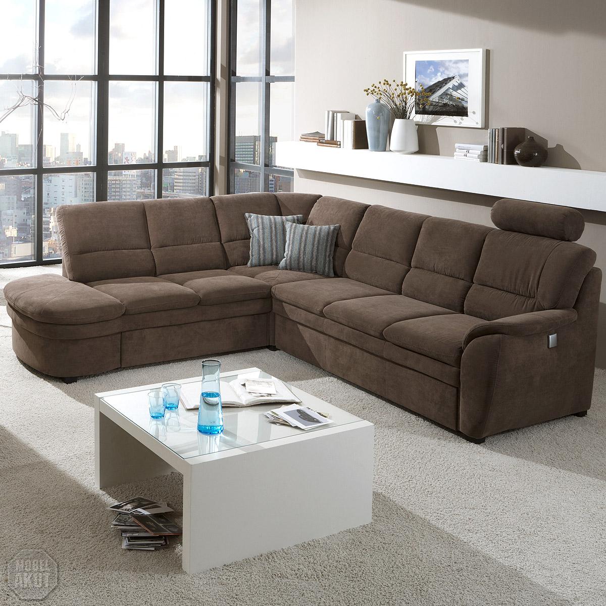 Ecksofa ginger sofa wohnlandschaft braun mit bettfunktion for Wohnlandschaft mit relaxfunktion
