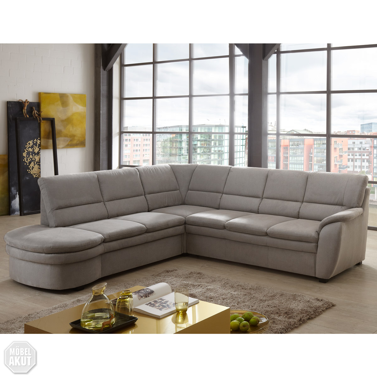 Ecksofa ginger sofa wohnlandschaft grau mit bettfunktion for Sofa mit bettfunktion