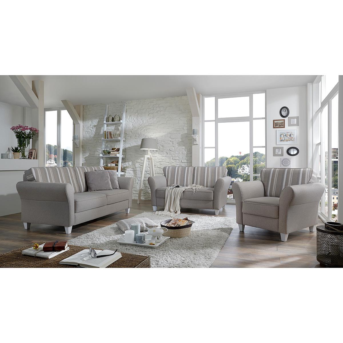 sofagarnitur baltrum sofa garnitur polsterm bel in beige im landhaus stil ebay. Black Bedroom Furniture Sets. Home Design Ideas