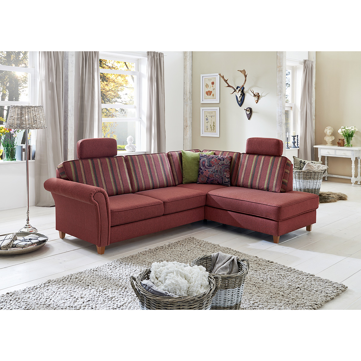 ecksofa baltrum sofa wohnlandschaft polsterm bel bordeaux im landhaus stil 247 ebay. Black Bedroom Furniture Sets. Home Design Ideas