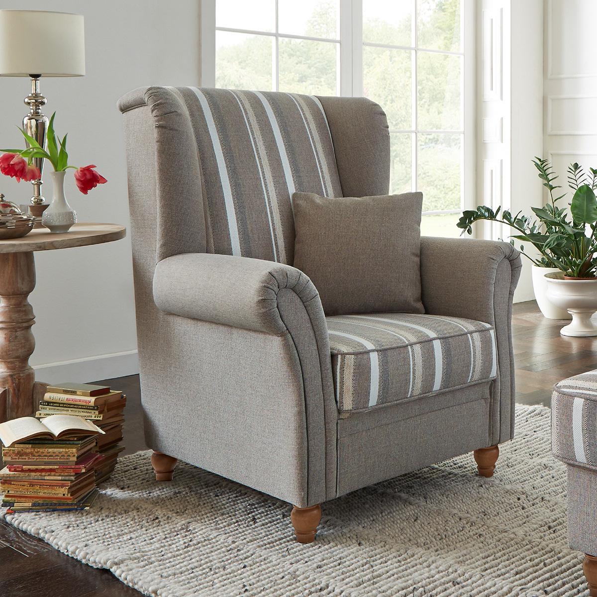 sessel f hr einzelsessel ohrensessel polsterm bel in beige im landhaus stil 92 ebay. Black Bedroom Furniture Sets. Home Design Ideas