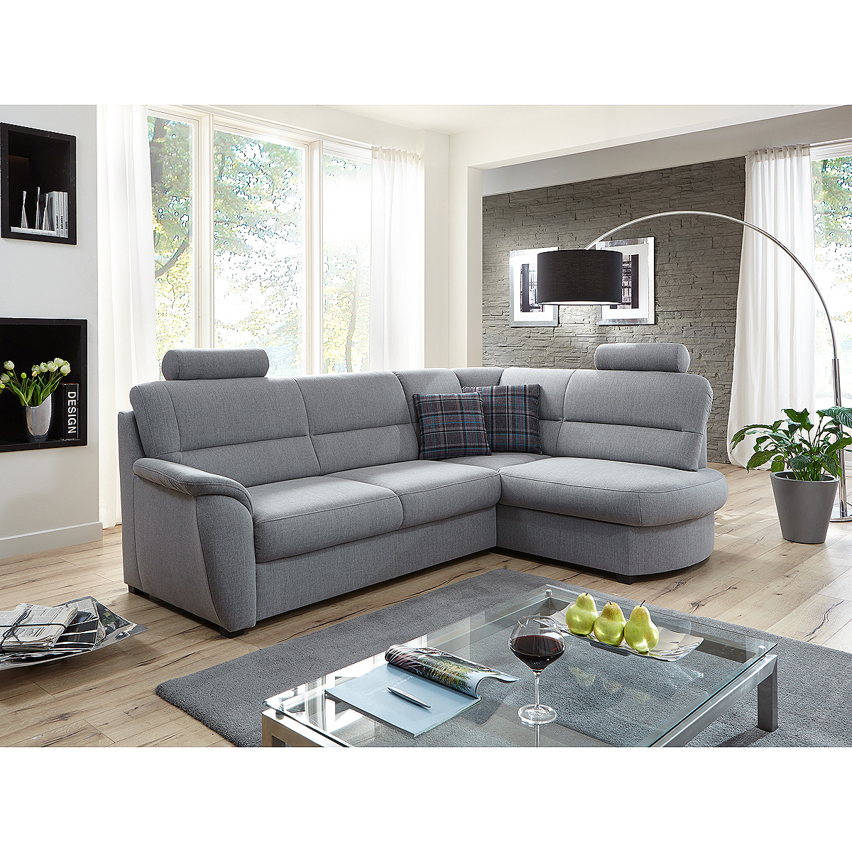 ecksofa pandoras sofa wohnlandschaft polsterm bel in hellgrau 251. Black Bedroom Furniture Sets. Home Design Ideas