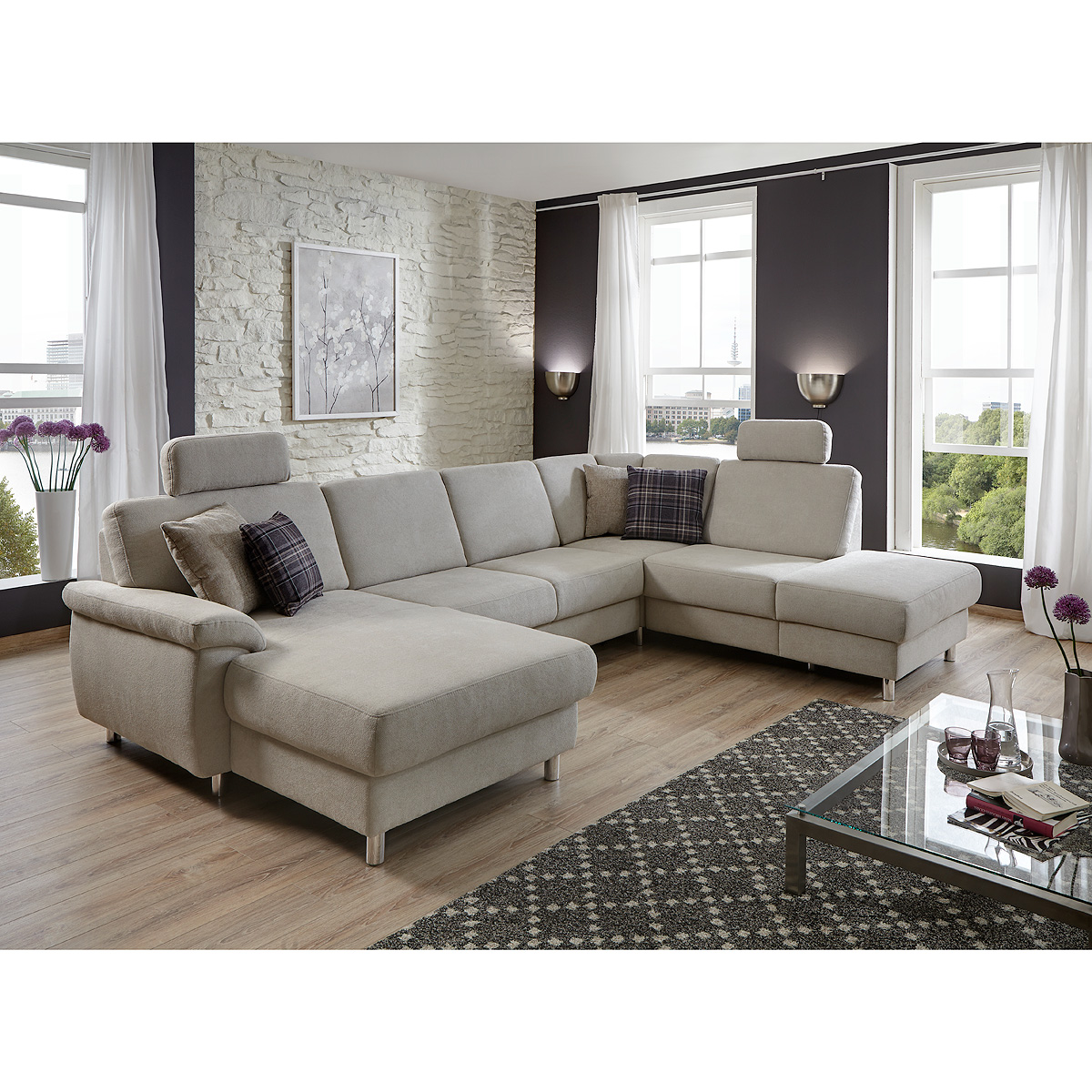 wohnlandschaft winston ecksofa sofa polsterm bel u form in grau wei 321 cm ebay. Black Bedroom Furniture Sets. Home Design Ideas