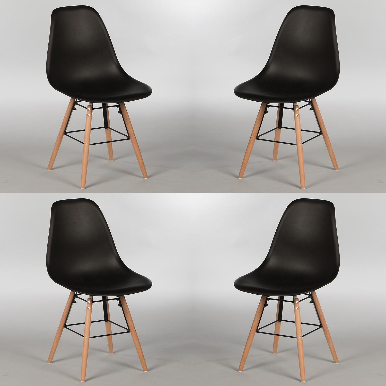 stuhl 4er set sitzschale kunststoff oder gepolstert lederlook gestell buche ebay. Black Bedroom Furniture Sets. Home Design Ideas