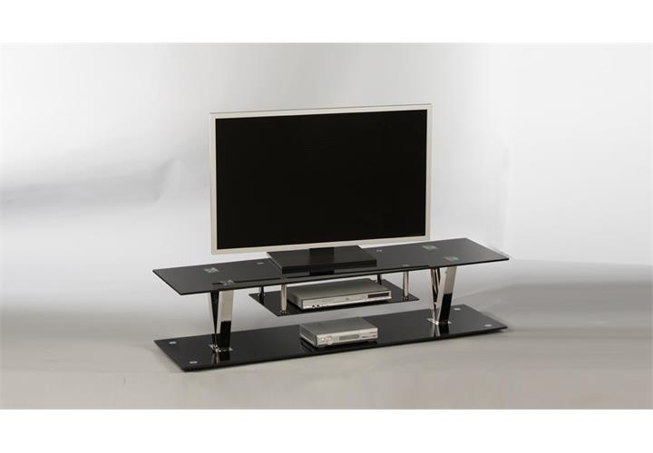 lowboard bitonto tv board unterschrank fernsehschrank glas in schwarz lackiert ebay. Black Bedroom Furniture Sets. Home Design Ideas