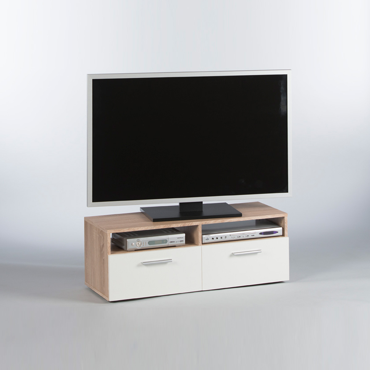 lowboard rana tv board unterschrank fernsehschrank in sonoma eiche und wei 95 eur 49 95. Black Bedroom Furniture Sets. Home Design Ideas